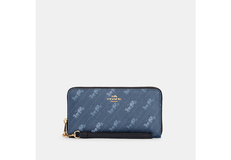 Long Zip Around Wallet With Horse And Carriage Dot Print image number 0