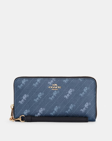 Long Zip Around Wallet With Horse And Carriage Dot Print