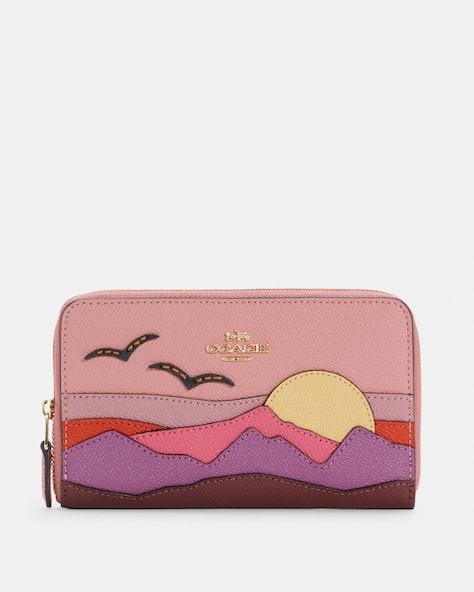 Medium Id Zip Wallet With Mountain Postcard