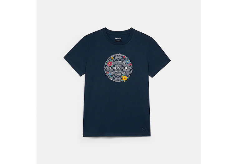 Chambray Floral Signature T Shirt image number 0