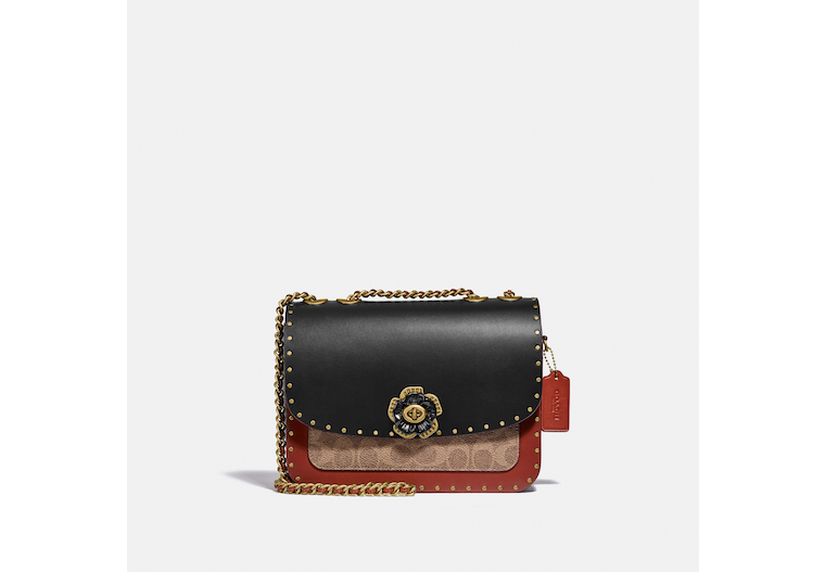 Madison Shoulder Bag In Signature Canvas With Rivets And Snakeskin Detail image number 0