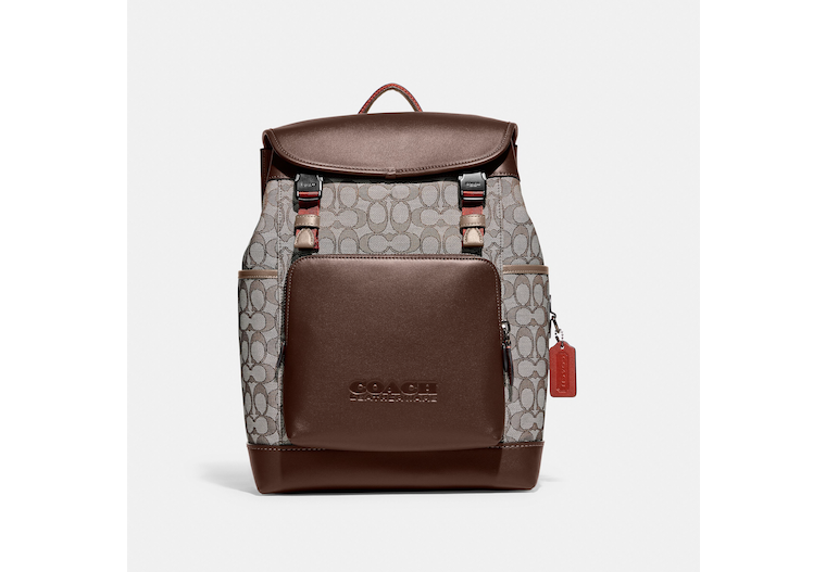 League Flap Backpack In Signature Jacquard image number 0