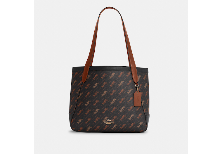 Horse And Carriage Tote With Horse And Carriage Dot Print image number 0