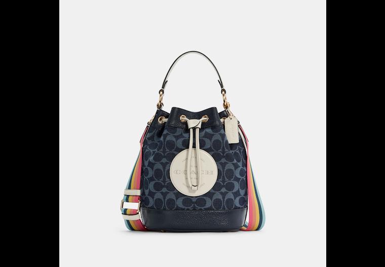 Dempsey Drawstring Bucket Bag In Signature Denim image number 0