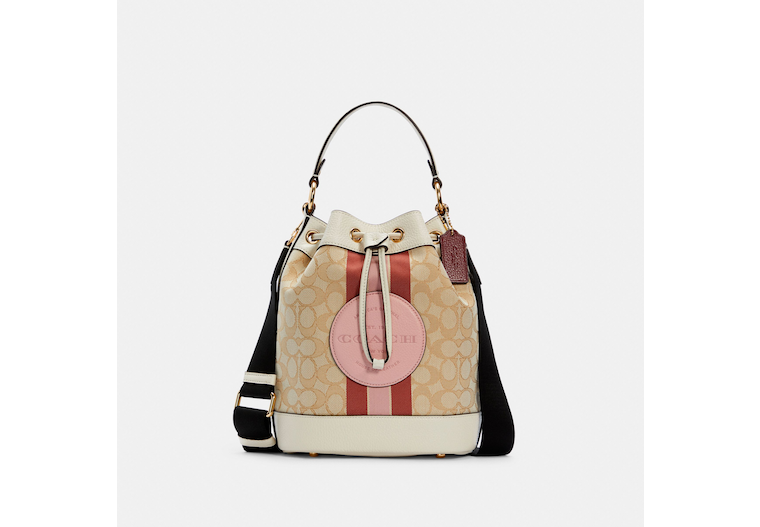Dempsey Drawstring Bucket Bag In Signature Jacquard With Stripe And Coach Patch image number 0