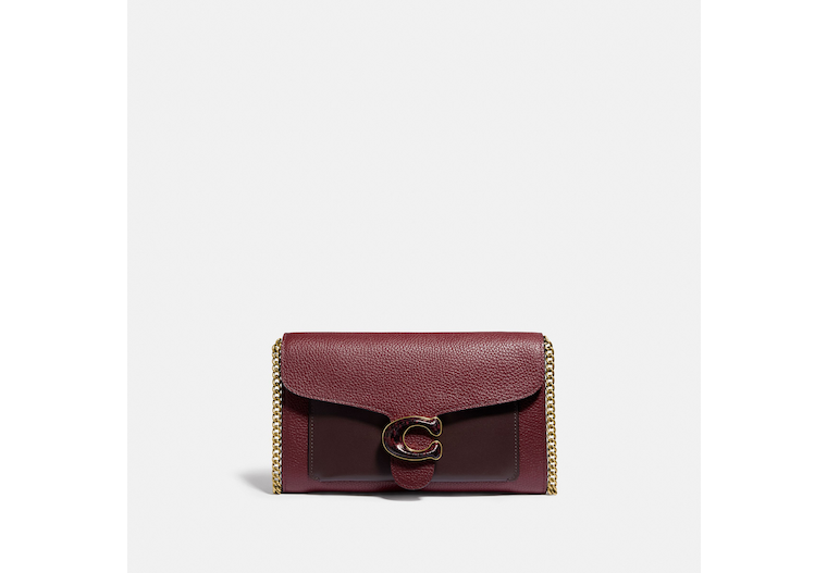 Tabby Chain Clutch In Colorblock With Snakeskin Detail image number 0
