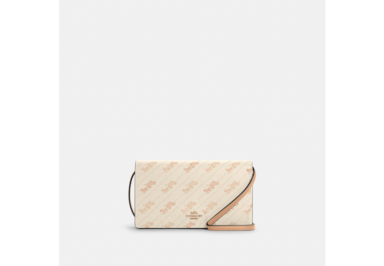 Anna Foldover Crossbody Clutch With Horse And Carriage Dot Print image number 0