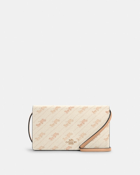 Anna Foldover Crossbody Clutch With Horse And Carriage Dot Print