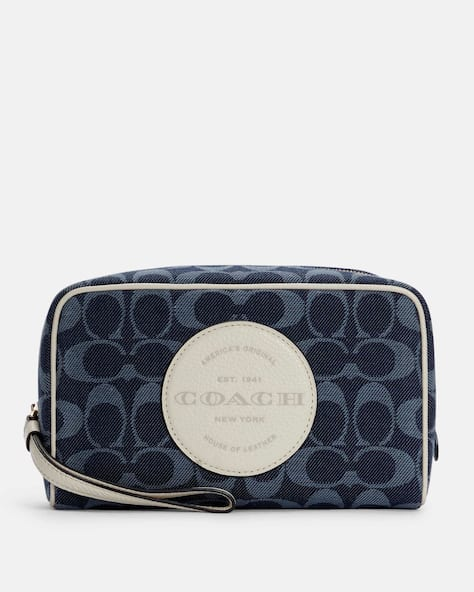 Dempsey Boxy Cosmetic Case 20 In Signature Denim With Coach Patch