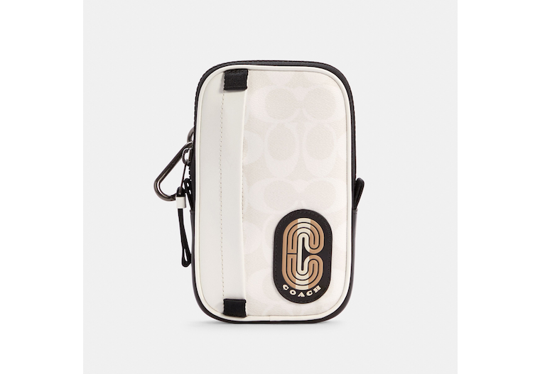 North/South Hybrid Pouch In Colorblock Signature Canvas With Striped Coach Patch image number 0
