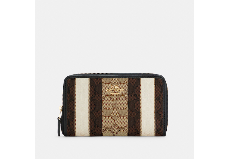 Medium Id Zip Wallet In Signature Jacquard With Stripes image number 0