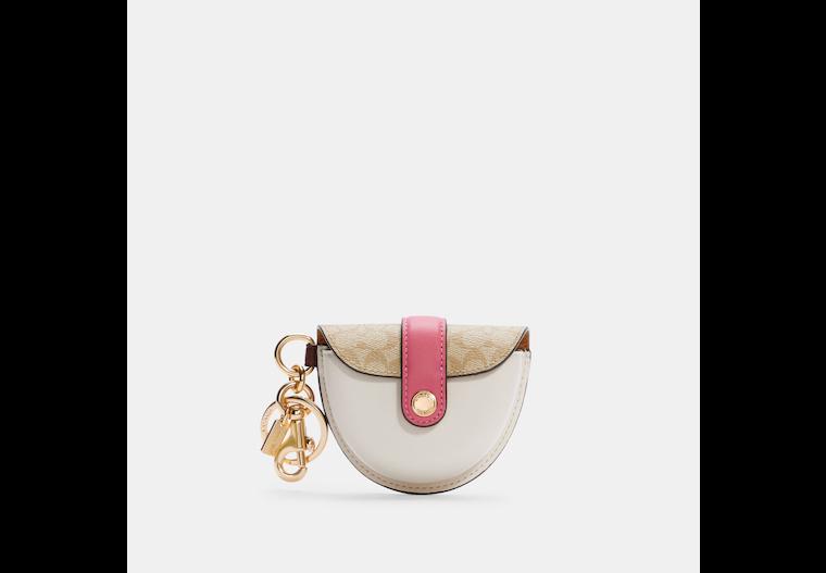 Mini Saddle Bag Charm In Signature Canvas image number 0