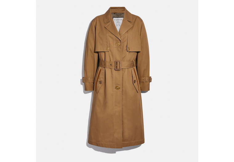 Cotton Trench With Leather Trim image number 0