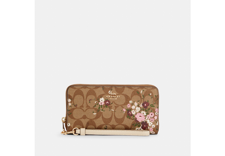 Long Zip Around Wallet In Signature Canvas With Evergreen Floral Print image number 0