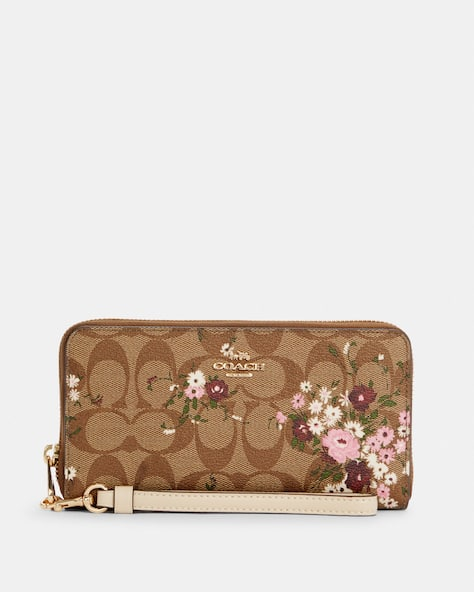 Long Zip Around Wallet In Signature Canvas With Evergreen Floral Print