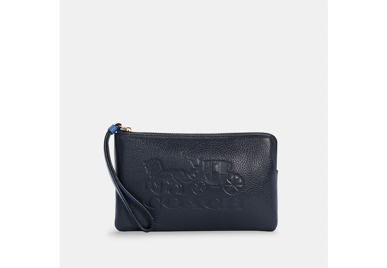 Large Corner Zip Wristlet With Horse And Carriage image number 0
