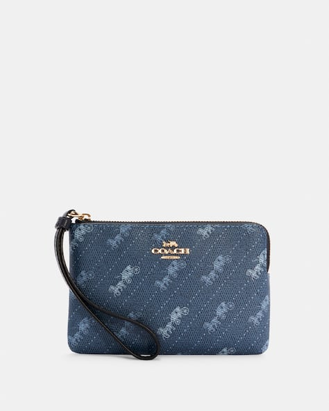 Corner Zip Wristlet With Horse And Carriage Dot Print