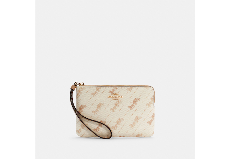 Corner Zip Wristlet With Horse And Carriage Dot Print image number 0