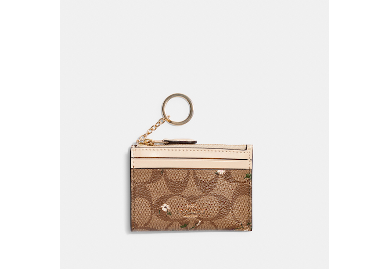 Mini Skinny Id Case In Signature Canvas With Evergreen Print image number 0