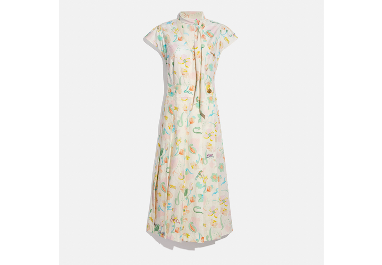Printed Tie Neck Pleated Dress image number 0