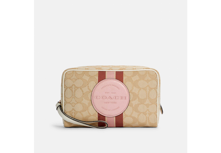 Dempsey Boxy Cosmetic Case 20 In Signature Jacquard With Stripe And Coach Patch image number 0