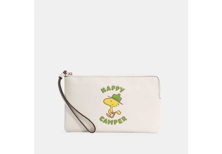 Coach X Peanuts Large Corner Zip Wristlet With Woodstock image number 0