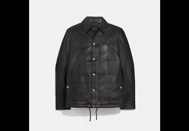Veste en cuir avec poche image number 0