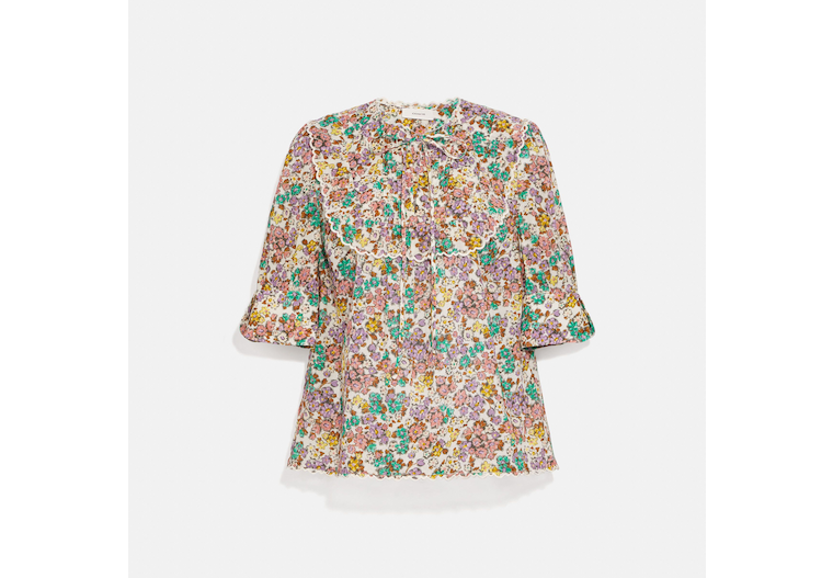 Printed Broderie Anglaise Bib Shirt image number 0