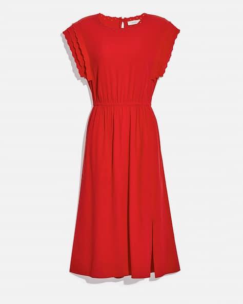 Shoulder Pleat Midi Dress
