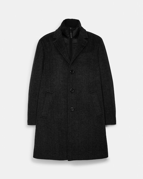Herringbone Wool Top Coat
