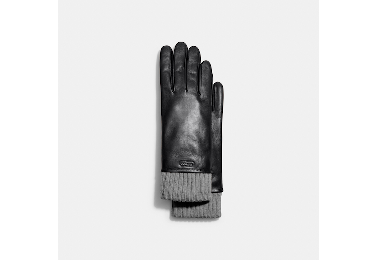 Leather Knit Cuff Mixed Gloves image number 0