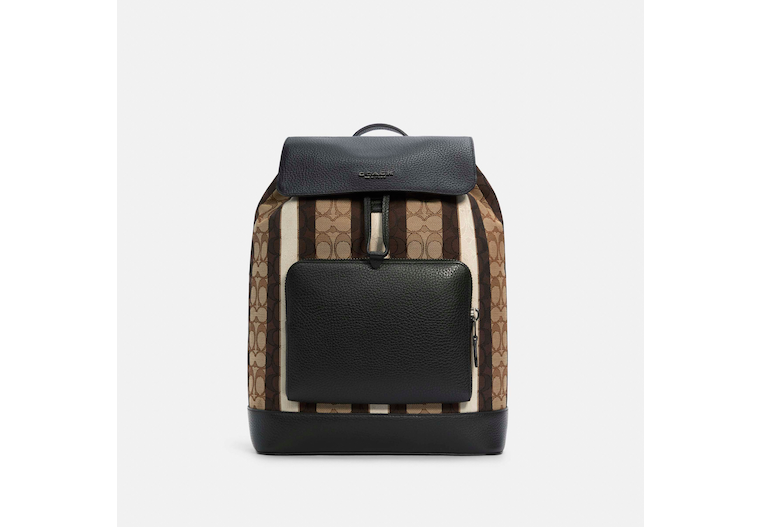 Turner Backpack In Signature Jacquard With Stripes image number 0