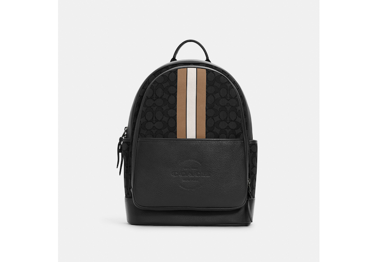 Thompson Backpack In Signature Jacquard With Varsity Stripe image number 0