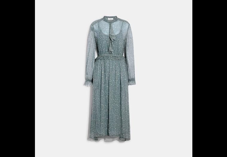 Ruffle Front Dress With Gathered Yoke image number 0