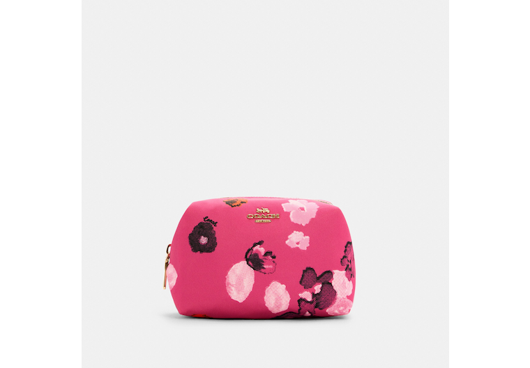 Small Boxy Cosmetic Case With Halftone Floral Print image number 0