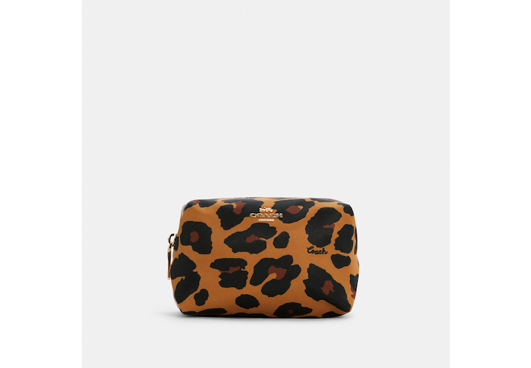 Small Boxy Cosmetic Case With Leopard Print image number 0