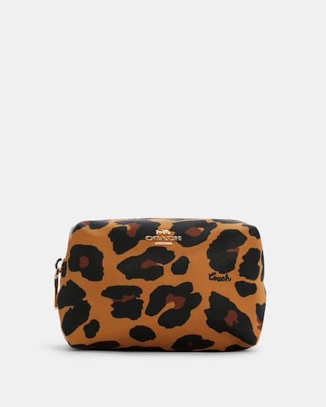 Petite trousse à cosmétiques carrée à imprimé léopard