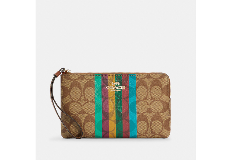 Large Corner Zip Wristlet In Signature Canvas With Stripe image number 0
