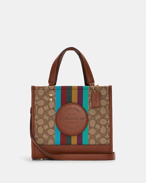 Dempsey Tote 22 In Signature Jacquard With Stripe And Coach Patch