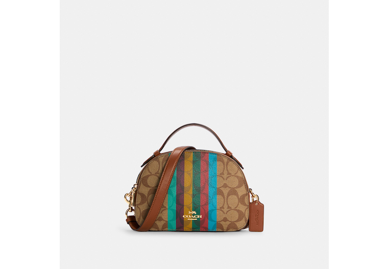 Serena Satchel In Signature Canvas With Stripe image number 0