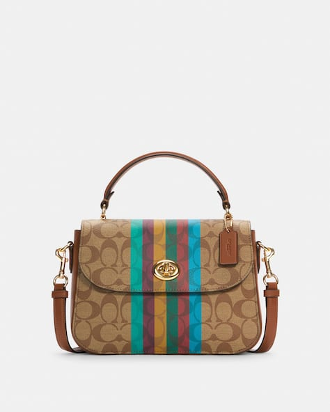 Marlie Top Handle Satchel In Signature Canvas With Stripe
