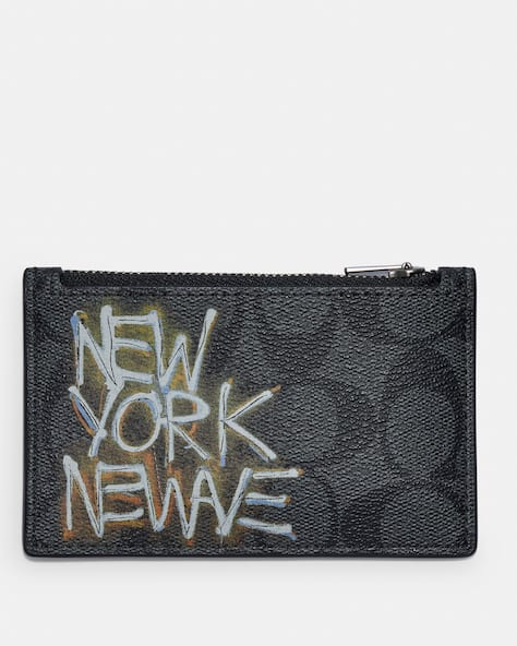 Coach X Jean Michel Basquiat Zip Card Case In Signature Canvas