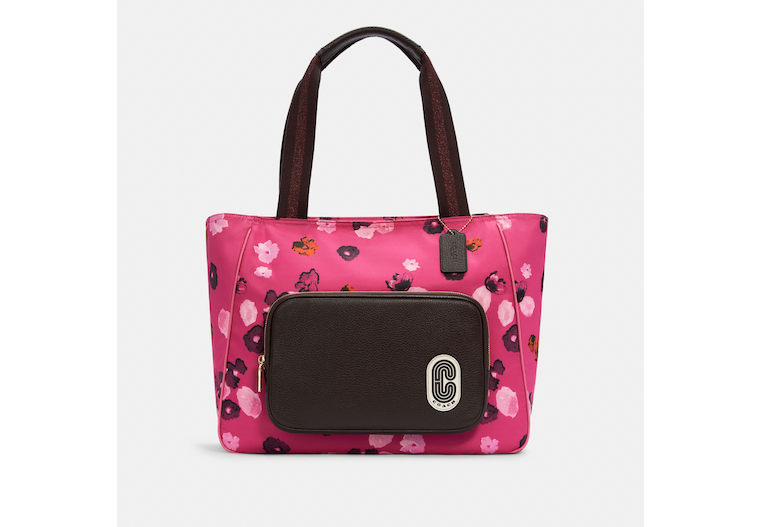 Court Tote With Halftone Floral Print image number 0