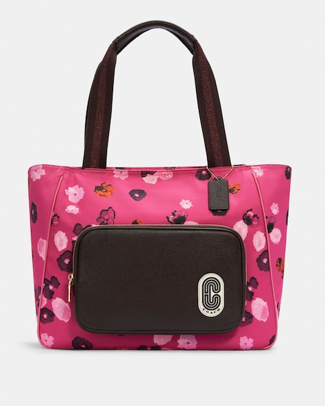 Court Tote With Halftone Floral Print