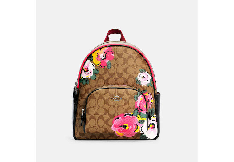 Court Backpack In Signature Canvas With Vintage Rose Print image number 0
