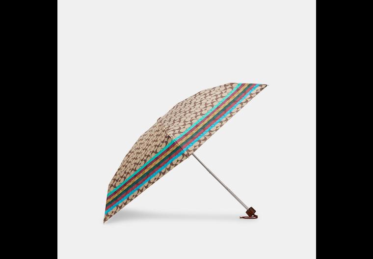 Uv Protection Mini Umbrella In Signature Stripe Print image number 0