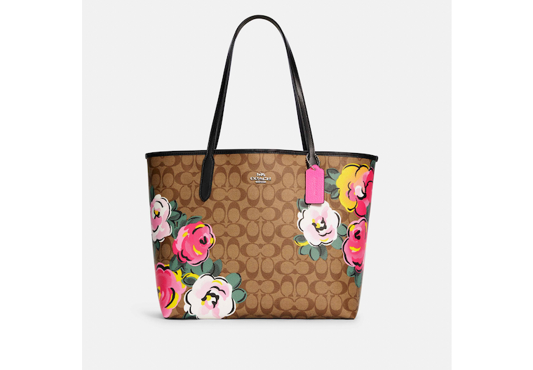 City Tote In Signature Canvas With Vintage Rose Print image number 0