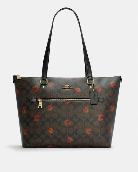 Gallery Tote In Signature Canvas With Pop Floral Print