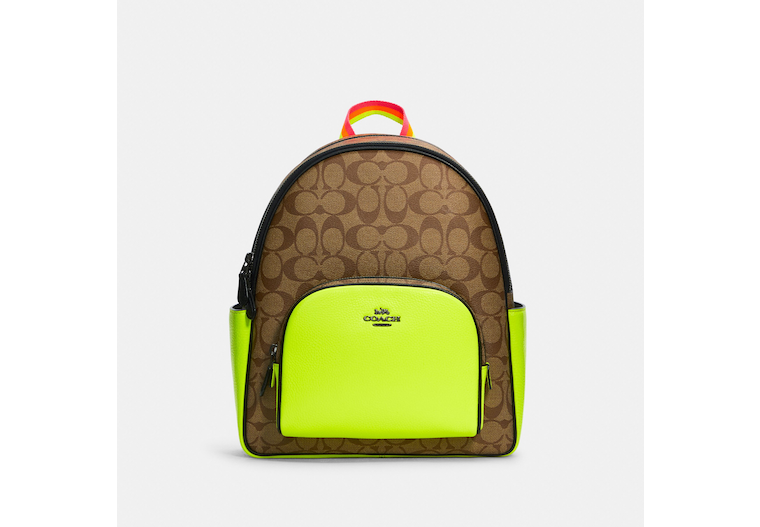 Court Backpack In Colorblock Signature Canvas image number 0