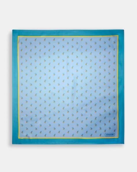 Écharpe carrée en soie avec imprimé d'oiseau